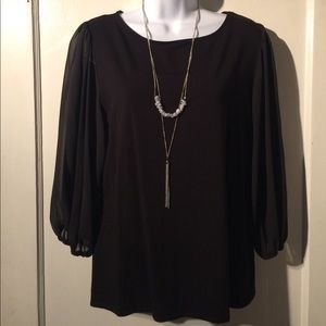 NWOT Vince Camuto Sheer Bell Sleeve Blouse L