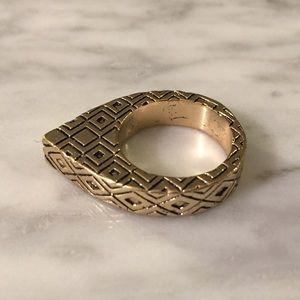 Gold Teardrop Statement Ring (Size 5)