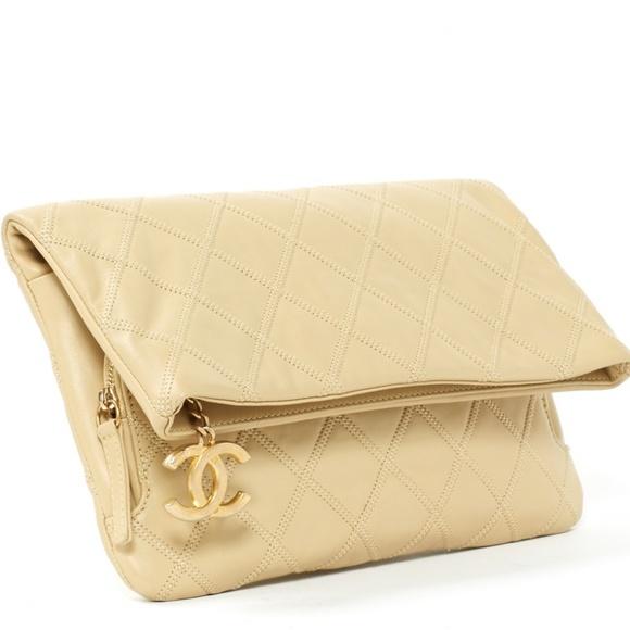 804458f3bb6f CHANEL Bags | Beige Plain Leather Clutch Bag Vintage | Poshmark