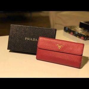 Prada Leather Long Flap Wallet