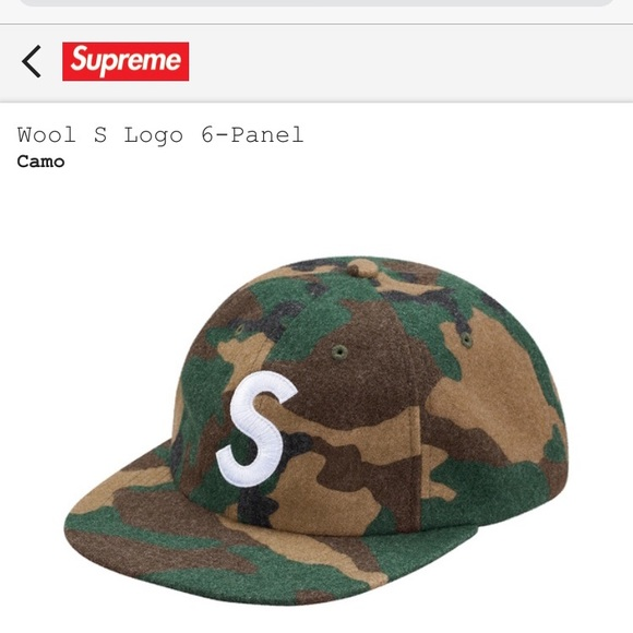 55c1d19edc6 Supreme S Logo Camo Wool Cap. M 5a0e8fd74e8d1711ab024331. Other Accessories  ...