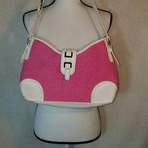 Pink & white shoulder bag croft & barrow nwot