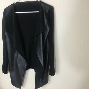Black pleather and cotton structured cardigain