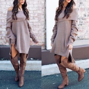 TENLEY Off Shoulder Sweater Dress/Top - MAUVE