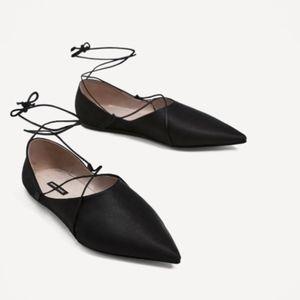 NIB Zara Black Satin Lace Up Flats Ballerina Point