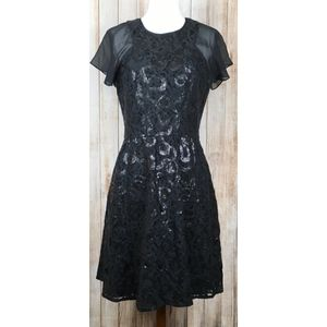 Andrew Marc serpent lace sequin dress in black
