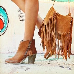 Cognac Almond Toe Ankle Leather Platform Boot