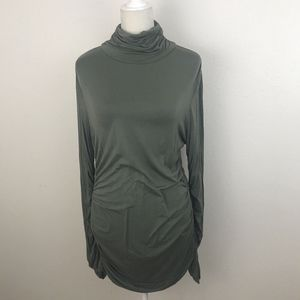 Soft Surroundings Tunic Green Ruched Soft Top