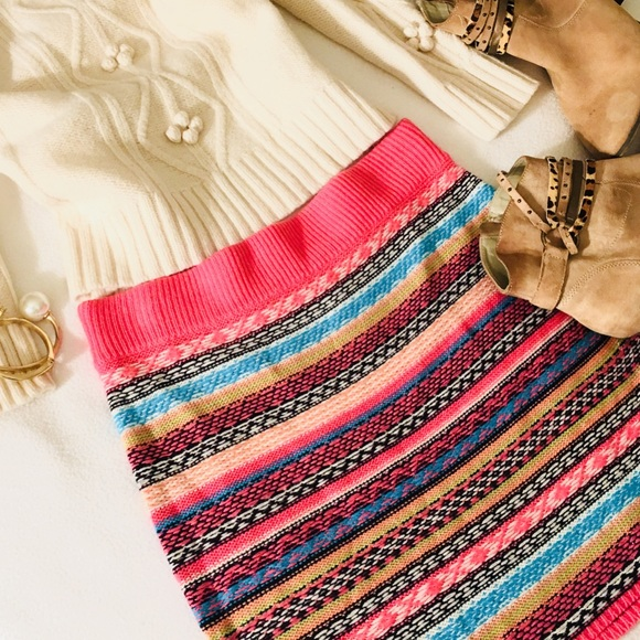 Pink Fair Isle Nordic Sweater Knit Skirt M from ! t.brooke's ...