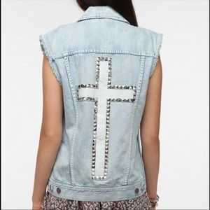 UO BDG Studded Cross Denim Vest