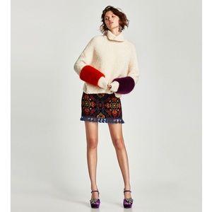 Zara jacquard skirt with pompoms