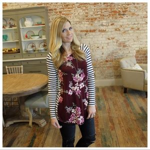 Tops - Burgundy floral striped tunic