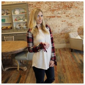 Tops - Oatmeal solid with plaid tie bottom sleeves