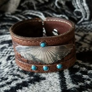 Jewelry - Navajo Sterling Wing Lapis Studs Leather Cuff