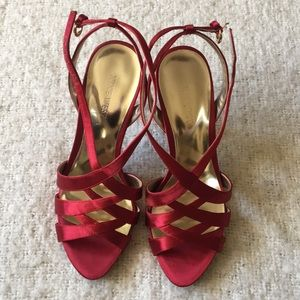 NW red satin dressy sandals.