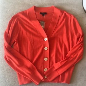 Orange v-neck cardigan from J.Crew Factory