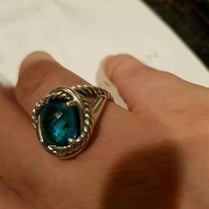 David Yurman Infinity 11mm blue topaz ring