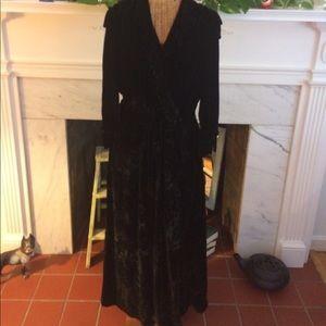 Vintage 30's Black Velvet Fringe Dressing Gown