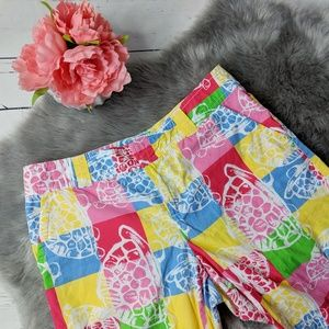 LILLY PULITZER • patchwork turtle print shorts