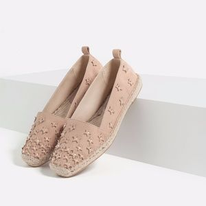 Zara Leather Espadrilles loafers with stars