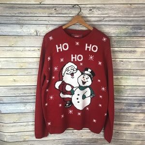 Red Santa Frosty the Snowman Christmas Sweater