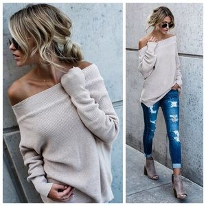 New taupe Off Shoulder sweater