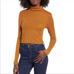 NWT WAYF Mustard yellow mockneck sweater pullover