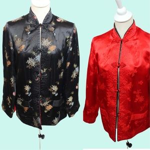 Vintage Satin Brocade Reversible China Girl Jacket