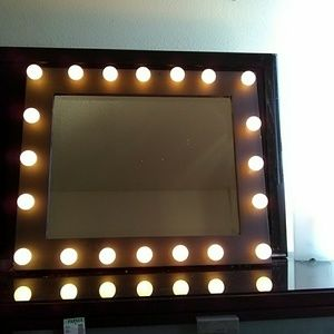 Small Black Vanity Mirror w/ Mini light bulbs