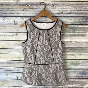 Weston Wear Anthropologie Piped Lace Peplum Top