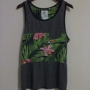 On The Byas Tropical Floral Mens Tank Top Size XL