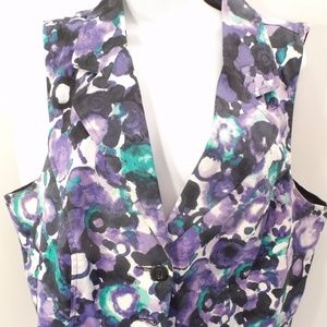 womens vest plus size 18 lane bryant floral button
