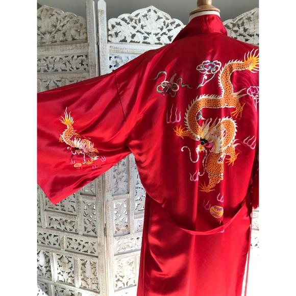 3abaefa7323e Vintage Jackets & Coats | Final Red Silk Dragon Kimono | Poshmark