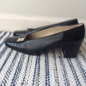 Vaneli black cap toe block heel pumps