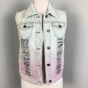 Acid Wash Aztec Tribal Print Jean Denim Vest