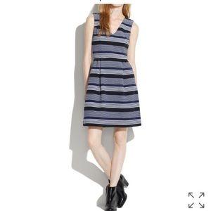 Madewell ponte v neck stripemix dress