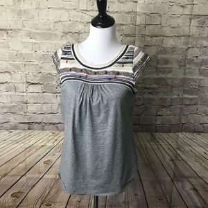 Anthropologie one september metalic embrodered top