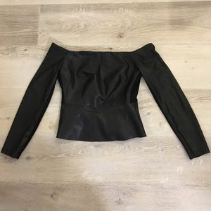 BCBGMAXAZRIA leather off shoulder top XS BNWOT