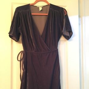 NWOT Purple Velvet Wrap Dress