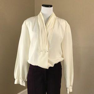 Vintage Willowridge Ivory Blouse / Dress Shirt