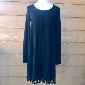 Black Long Sleeve Fringe Dress Pleated Pleats 🖤