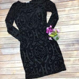 Mystic Los Angeles Black Velvet Damask Dress