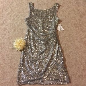 Brand new Silver sequined dress