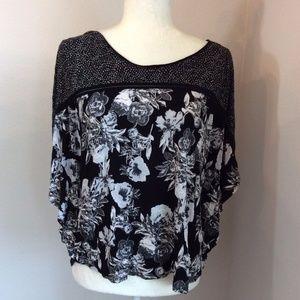 H&M Black White Floral Dot Batwing Dolman Blouse