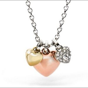 Fossil Heart Charm Necklace *New* Rose Gold/Silver