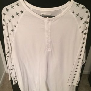 Express White star print Henley 3/4 sleeve