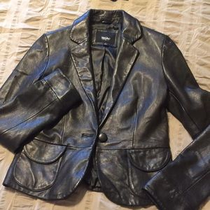 Real leather blazer