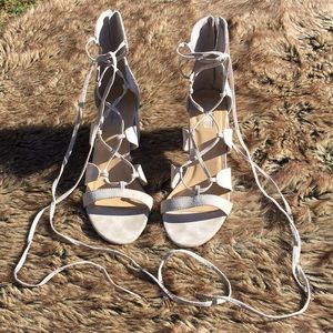 F21 Gray Lace Up Heels