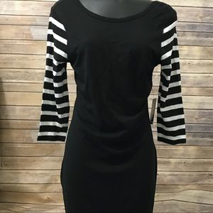 Express Black Tunic with Striped sleeves