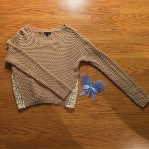 Waffle Knit Sweater with Lace Sides
